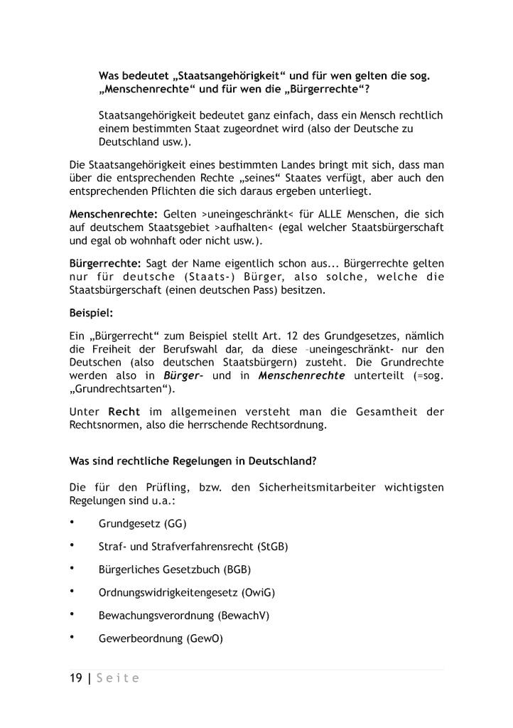 leseprobe sachkunde im bewachungsgewerbe nach 34a gewo - Burgerrechte Beispiele
