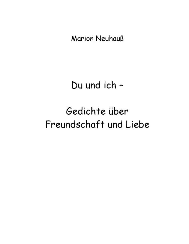 Bod Leseprobe Du Und Ich Gedichte über Freundschaft Und Liebe
