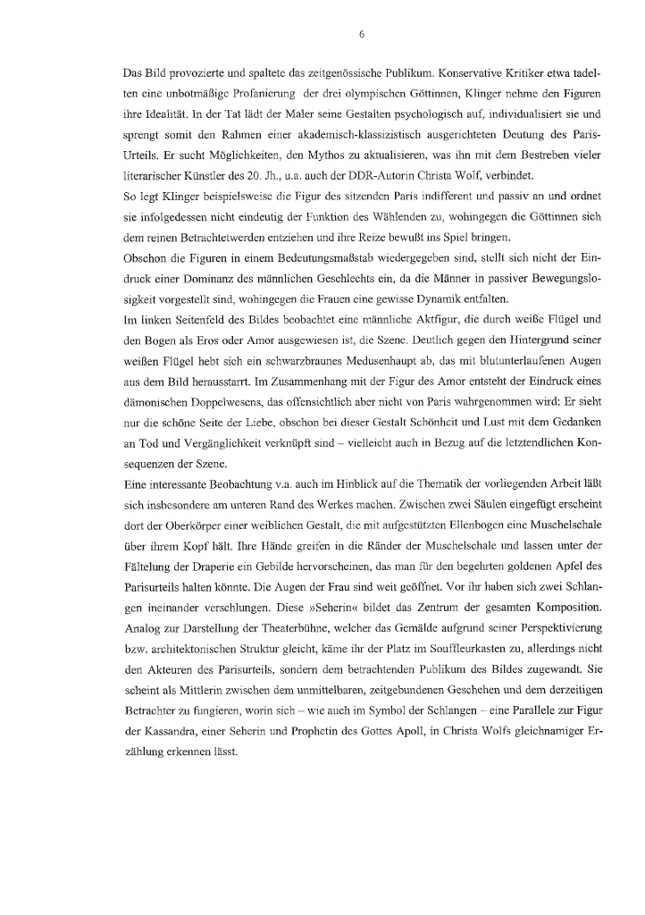 leseprobe antiker mythos und moderne literatur am beispiel der erzhlung kassandra von christa wolf - Erzahlung Beispiel