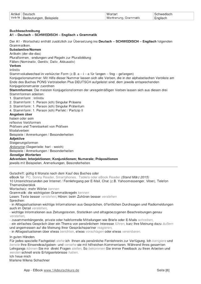Bod Leseprobe Wörterbuch A1 Deutsch Schwedisch Englisch