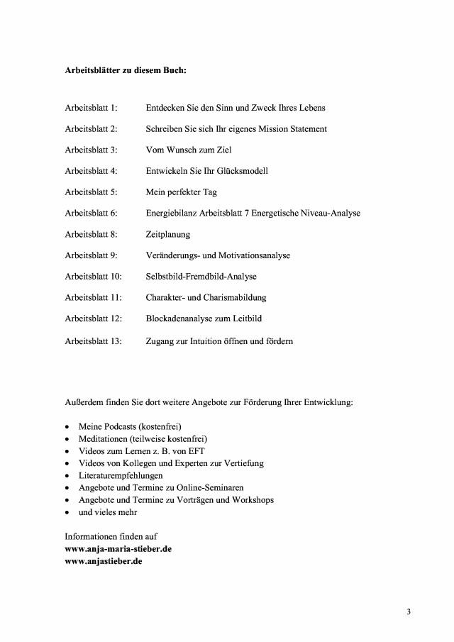 BoD-Leseprobe: Arbeitsblätter zum Buch \