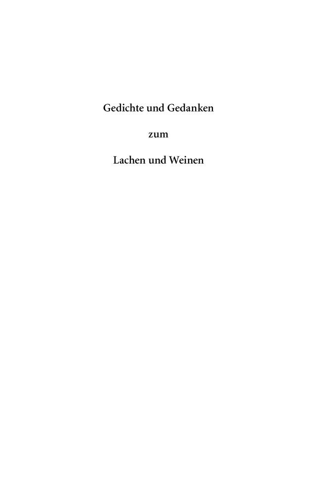 Bod Leseprobe Gedichte Und Gedanken Zum Lachen Und Weinen