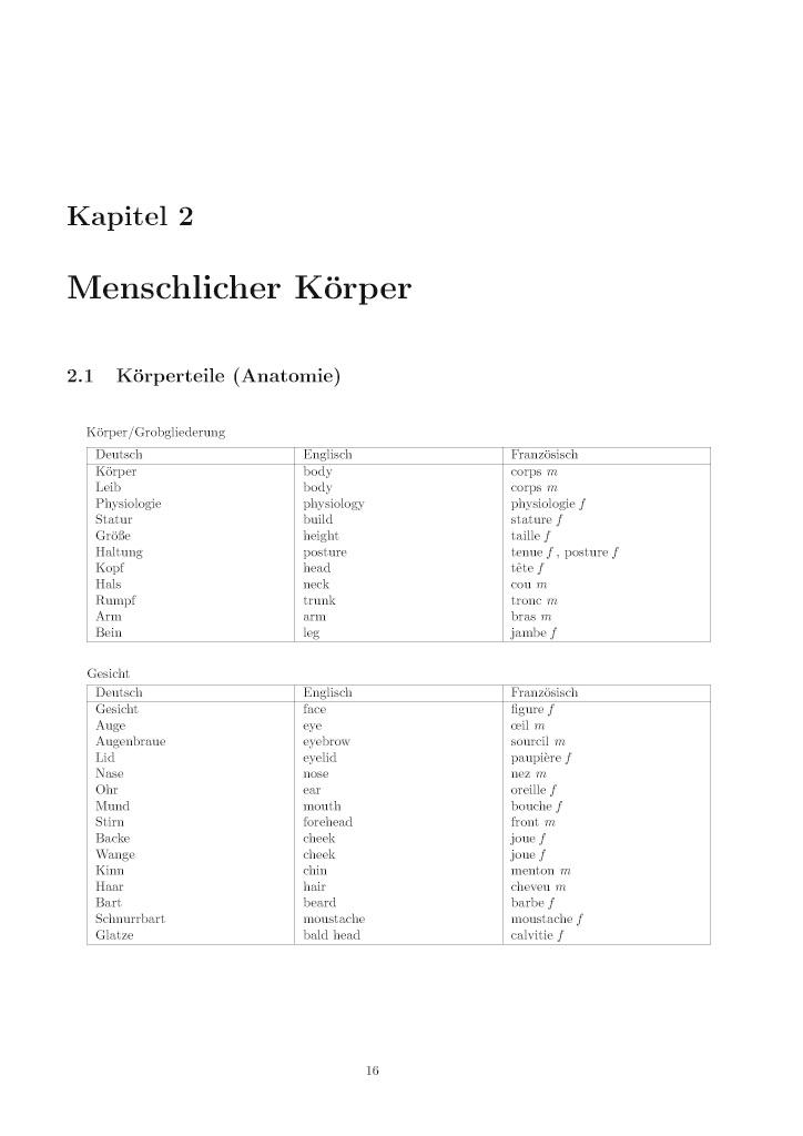 BoD-Leseprobe: Thematisches Wörterbuch Deutsch-Englisch-Französisch ...