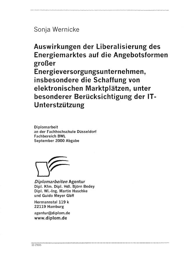 Bod Leseprobe Auswirkungen Der Liberalisierung Des Energiemarktes