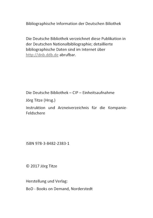 BoD Leseprobe: Instruktion und Arzneiverzeichnis