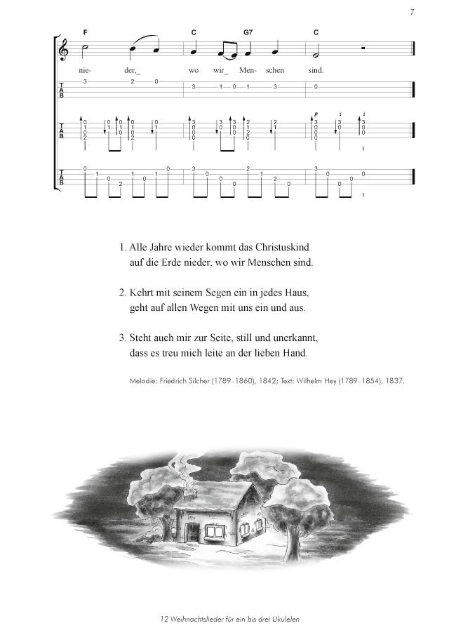 BoD-Leseprobe: 12 Weihnachtslieder für ein bis drei Ukulelen